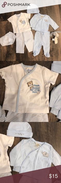 7pc Baby Boy Bundle Layette Set For Baby Boy. Left is from Little me includes diaper cover. No stains, gently used. Right Set is Kyle and Deena. Both size 0/3. Vintage style rattle included- never used. Kyle and Deena Matching Sets