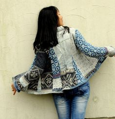 S-M Norwegian style recycled sweater and denim by jamfashion