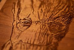 I am Groot | Wood Portrait | Fringe Focus  Each 8 x 8″ limited edition wooden portrait depicting Guardians of the Galaxy's Groot is laser engraved into Cherry hardwood boards. This wood is sustainable and grown in the US. Each portrait is hand sanded and finished with danish oil to ensure it's protected from the elements. Available for purchase here: https://fringefocus.com/i/groot-wood-portrait/