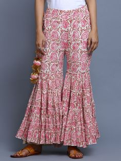 Ivory Pink Chanderi Hand Block Printed Sharara Suit - Set of 3 Pakistani Dresses, Indian Dresses, Indian Outfits, Fashion Pants, Fashion Dresses, Sharara Designs, Salwar Pants, Estilo Hippie, Pants For Women