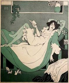 Woman reading by Karl Alexander Wilke German-Austrian painter, illustrator and stage designer. From 1905 to 1918 he was a staff member of the Austrian humour/men's magazine, Die Musketethe Reading Art, Woman Reading, Reading Books, Illustrations, Illustration Art, Comic Manga, Art Graphique, I Love Books, Book Art