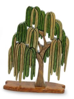 Andean Handcrafted Ishpingo Wood Sculpture Peru - Weeping Willow | NOVICA