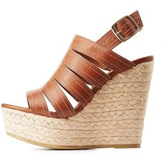 Bamboo Espadrille Wedge Sandals ($25) ❤ liked on Polyvore featuring shoes, sandals, cognac, bamboo sandals, strap sandals, strappy wedge sandals, espadrille wedge sandals and platform shoes