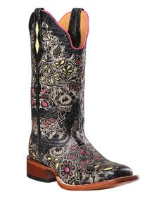 Another great find on #zulily! Barn Black Floral Embroidered C-Toe Leather Western Boot by Johnny Ringo Boots #zulilyfinds
