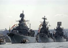 A fleet of Russian warships sailing off the coast of Norway were spotted by the Norwegian military Monday and are reportedly heading toward Syria, according to newly released photographs.  The eight vessels photographed by Norwegian surveillance aircraft included its flagship aircraft carrier the Admiral Kuznetsov and the Pyotr Velikiy battle cruiser, Reuters reported Tuesday.