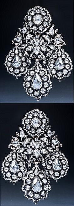 An exquisite and rare pair of late 18th century diamond earrings