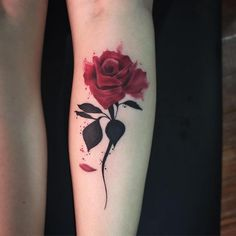 Amazing red rose tattoo