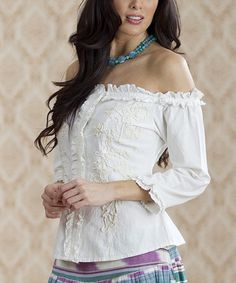Iced White Romantic Ruffles Off-Shoulder Top - Women & Plus | Daily deals for moms, babies and kids
