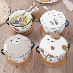 4 Colors Kawaii Cat Ceramics Bowl - Material: made of ceramics - Color: White/ Yellow/ Grey/ Spot - Option: Bowl with fork/Bowl with spoon - Size: Kawaii Room, Kawaii Cat, Kawaii Anime, Cute Kitchen, Kitchen Items, Japanese Harajuku, Little Lunch, Aesthetic Food, Cute Food