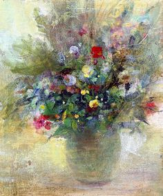 Russian Artists New Wave Painting - Creamy Mix Flower Bouquet by Natalia Rudzina