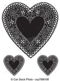 Antique Black Lace Heart Doilies - csp7996199