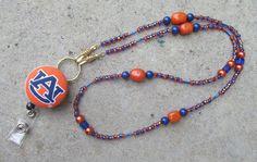 Auburn War Eagle Beaded ID Badge Lanyard Orange and Blue Gold - Free Shipping