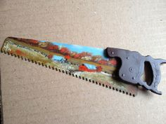 Mini Handsaw, Metal Art Fall Oil Painting Landscape by annimae182