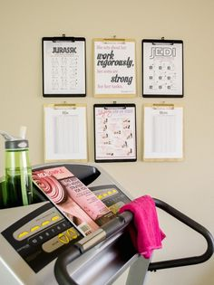19 Small-Space Home Gym Hacks You Need to Keep Those Resolutions Going - Fitness Guide - Organizing Tutorial - Home Gym / Exercise Room / Fitness Room - Fitness Accessories - Wall Art / Home Accessories - DIY Project Inspiration Home Gym Garage, Basement Gym, At Home Gym, Home Gyms, Home Gym Exercises, At Home Workouts, Gym Workouts, Workout Routines, Fitness Routines