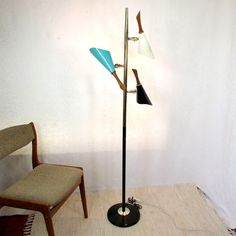 3 Cone Pole Lamp Turquoise White Black Atomic by MjsFunkandJunk, $265.00 Desk Lamp, Table Lamp, Pole Lamps, Furniture Design, Turquoise, Lighting, Trending Outfits, Etsy, Black