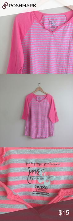 """Pink gray striped basic t-shirt plus size 2X T132 measurementswhen flat: ~Bust (armpit to armpit) 23"""" ~length (shoulder down side) 27""""  size  2X  the color is a pink almost orange tone.   PLEASE CONTACT ME with any questions orconcerns beforeor after a purchase! i am here to help! :) Just My Size Tops"""