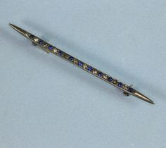 Sterling Bar Pin Blue and Clear Rhinestones by PastSplendors