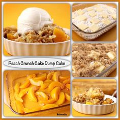 Here is a recipe for an easy Peach Crunch Dump Cake that's topped with brown sugar. oz jar of sliced peaches in light syrup 1 package yellow cake mix 1 stick butter cup), cut Cake Mix Cobbler, Peach Cobbler Dump Cake, Peach Cake, Easy Peach Cobbler Recipe With Cake Mix, Easy Desserts, Delicious Desserts, Yummy Food, Apple Desserts, Homemade Desserts