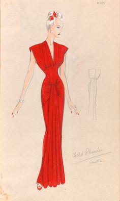 Marjorie Field (Field Rhoades), fashion design, London, 1940s. Red silk evening dress