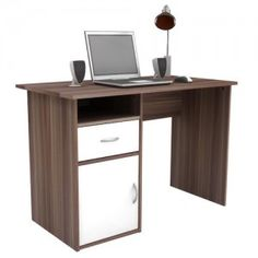 Walnut and White Home Office Desk with one stationery drawer and a storage cupboard. home-office-desks-with-drawers