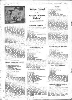 Kitchen Klatter Magazine, December 1947 - Frozen Christmas Pudding, Fattigman Bakkelse, Pecan Pumpkin Pie, Pineapple Date Pudding, Divinity, Orange Sugared Walnuts, Can't Fail Caramels, Chocolate Coated Peanut Clusters