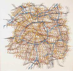 Matthew Picton Greater Paris ~ Duralar, enamel paint, pins, 2006. 38″ x 42″ x 3″
