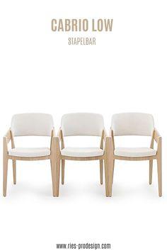 Stapelbare Designstühle aus Holz mit komfortabler Polsterung.  Sperrholz Lamelle mit sichtbaren Kanten bildet Sitzfläche und   Rückenlehne. Niedrige, abfallende Armlehnen ermöglichen platzsparende Position am Tisch.    Vielseitige Verwendung als Esstisch Stühle, Bankettstühle,   Konferenzstuhl, Sessel Wohnzimmer     Erstinformation und Beratung unter  43 699 15990977.    Stühle aus europäischer Produktion.    #sitzmoebel, #konferenzstuhldesign, #RiesProDesign Esstisch Design, Interior Design, Table, Furniture, Trends, Home Decor, Fine Dining, Linz, Armchairs