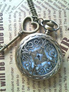 Steampunk Pocket Watch necklace Cross with key charm