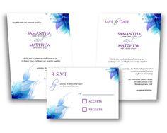Printable DIY WEDDING INVITATION Blue Purple by CFergoDesigns, $20.00
