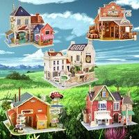 Model Building Kits Model Building Wooden 3d Hand Diy Stereo Jigsaw Puzzle Puzzle Board Children Puzzle Toy House Assembled Model Wood Diy Manual Tea House
