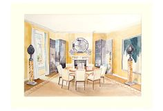One Kings Lane - Mad for Manhattan - Watercolor of a Dining Room at the Plaza