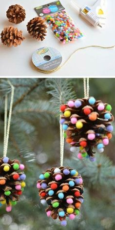 Pom poms and pinecones ornaments | Top 30 Lovely and Cheap DIY Christmas Crafts Sure to Wow You