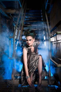 Always gotta love industrial + fashion. Nice use of lighting in this shot (Liz Garza Williams photography)
