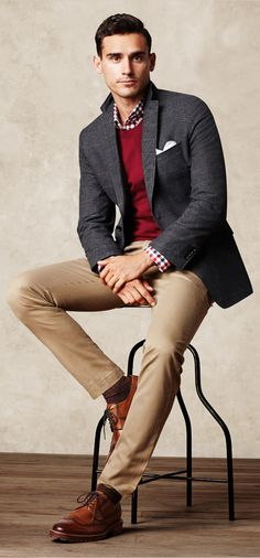 Banana Republic - rocking the red sweater    Even better with darker chinos (dark gold)