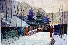 Dock Over Moccasin Lake art quilt by Rose Rushbrooke