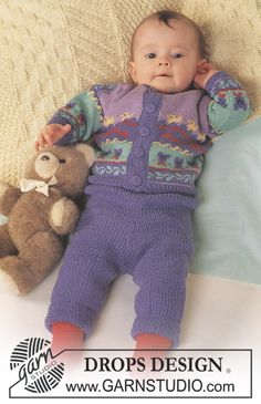 "DROPS jacket with teddy pattern, pants and socks in ""BabyMerino"". Blanket in Karisma. ~ DROPS Design"