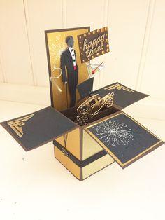 Handmade Art Deco Birthday Card-pop up-box card-retirement celebration-congratulations-gold/chocolate-Husband-Dad-brother-Son-Boyfriend Birthday Card Pop Up, Retirement Celebration, Pop Up Box Cards, Large Letters, Graduation Cards, Say Hello, Congratulations, Art Deco, Handmade Items