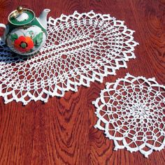 White lace doilies Oval crochet doily from CrochetedCosiness on