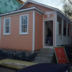 External paint is typical bright Charleston colors reminiscent of our architectural origins in the Caribbean. #charleston #freedmanscottage #restoration