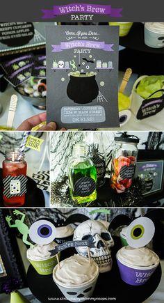 Witch's Brew Halloween Party on www.strawberrymommycakes.com #halloweenparty  #halloweenprintables