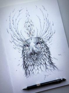 Eagle Soul Original Drawing Fantasy Pencil Art by JoJoesArt