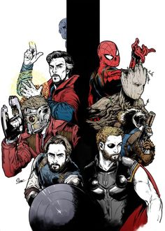Avengers: Infinity War || Doctor Strange,Peter Quill (Star-Lord),Steve Rogers (Captain America),Thor Odinson,Rocket Raccoon,Groot,Peter Parker (Spider-Man),Thanos