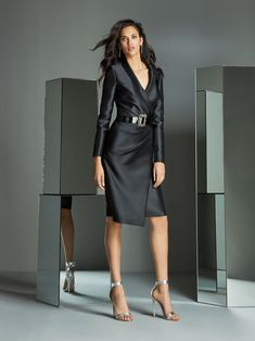 Black pencil dress with long-sleeved, tuxedo bodice, thin lapels and inverted drapery at waistline and hips of asymmetrical, folded skirt. Elegant Dresses For Women, Fabulous Dresses, Stunning Dresses, Classy Outfits, Pretty Outfits, Black Pencil Dress, Short Cocktail Dress, Cocktail Dresses, Elegant Outfit