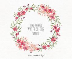 Watercolor wreath: 1 PNG floral clip art / Wedding invitation clip art / commercial use / pink blossom berries / CM0063f