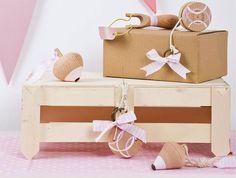 Μπομπονιέρες βάπτισης ξύλινα χειροποίητα παιχνίδια ροζ Gift Wrapping, Gifts, Gift Wrapping Paper, Presents, Wrapping Gifts, Favors, Gift Packaging, Gift