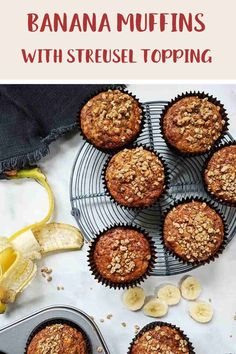 These Banana Muffins with their deliciously sweet crunchy streusel topping are just 4 Smart Points per serving on Weight Watchers Blue, Green, Purple Weight Watchers Pancakes, Weight Watcher Cookies, Weight Watchers Breakfast, Weight Watcher Dinners, Weight Watchers Desserts, Easy Homemade Recipes, Ww Recipes, Baking Recipes, Healthy Banana Muffins