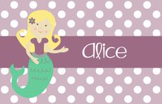"""Personalized Placemat - matches kids plate and dishsets laminated 12x18"""" mermaid blonde, brunette, black"""