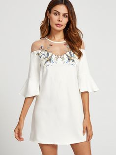 Shop Mesh Shoulder Bell Sleeve Embroidered Dress online. SheIn offers Mesh Shoulder Bell Sleeve Embroidered Dress & more to fit your fashionable needs.