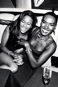 Naomi Campbell and Grace Jones Grace Jones, Naomi Campbell, Jones Fashion, Interview, Original Supermodels, Vintage Black Glamour, Vogue, Studio 54, Christy Turlington