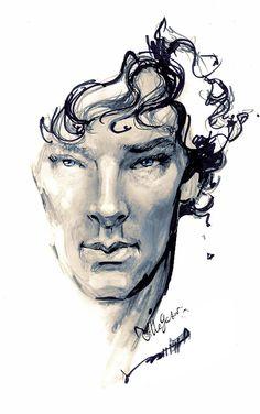 Love this Illustration of Benedict Cumberbatch as Sherlock.